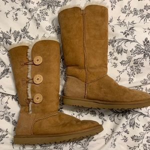 UGG tall button up boots in color chestnut